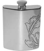 "6oz Acanthus Patterned Sheffield Pewter Hip Flask 11cm (4.25"")"