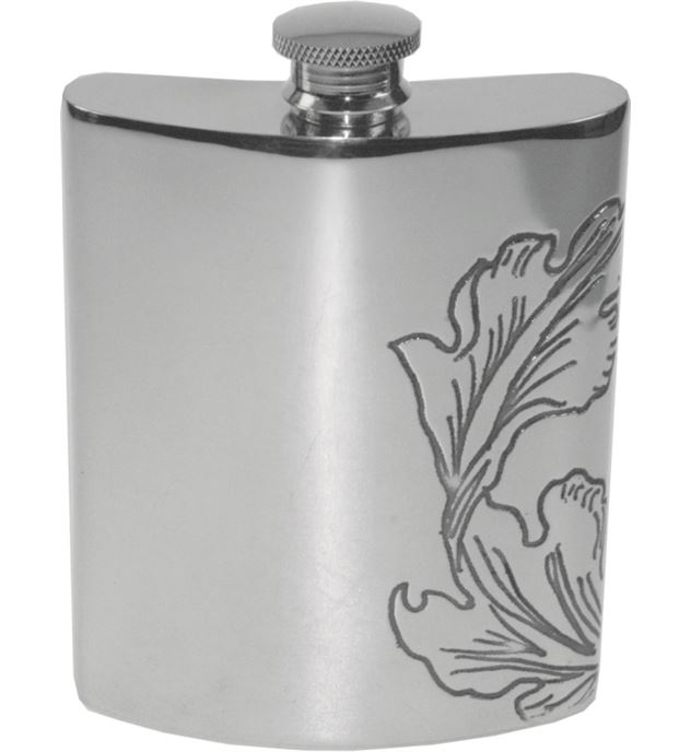 "6oz Acanthus Patterned Sheffield Pewter Hip Flask 11cm (4.25"")"
