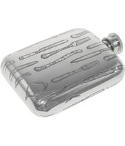 "4oz Cutlery Embossed Sheffield Pewter Hip Flask 9.5cm (3.75"")"