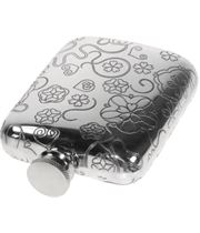 """4oz Rose Patterned Sheffield Pewter Hip Flask 9.5cm (3.75"""")"""