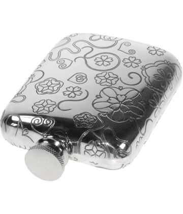 "4oz Rose Patterned Sheffield Pewter Hip Flask 9.5cm (3.75"")"