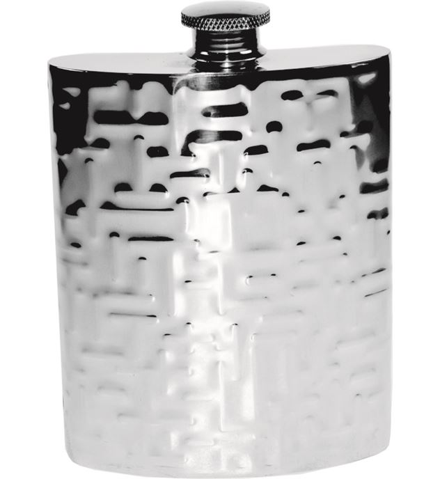 "6oz Metropolitan Patterned Sheffield Pewter Hip Flask 11cm (4.25"")"