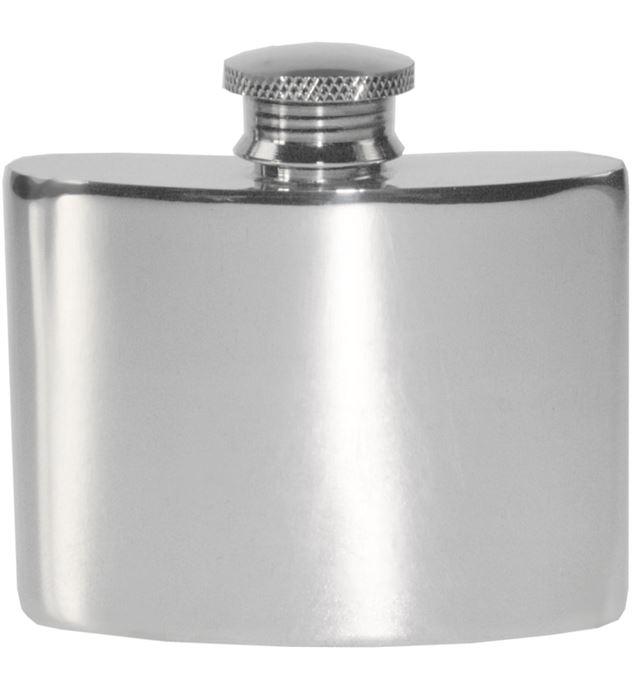 "2oz Plain Polished Sheffield Pewter Hip Flask 7cm (2.75"")"