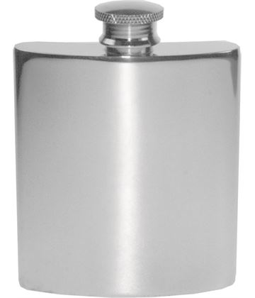 "3oz Plain Polished Sheffield Pewter Hip Flask 10cm (4"")"
