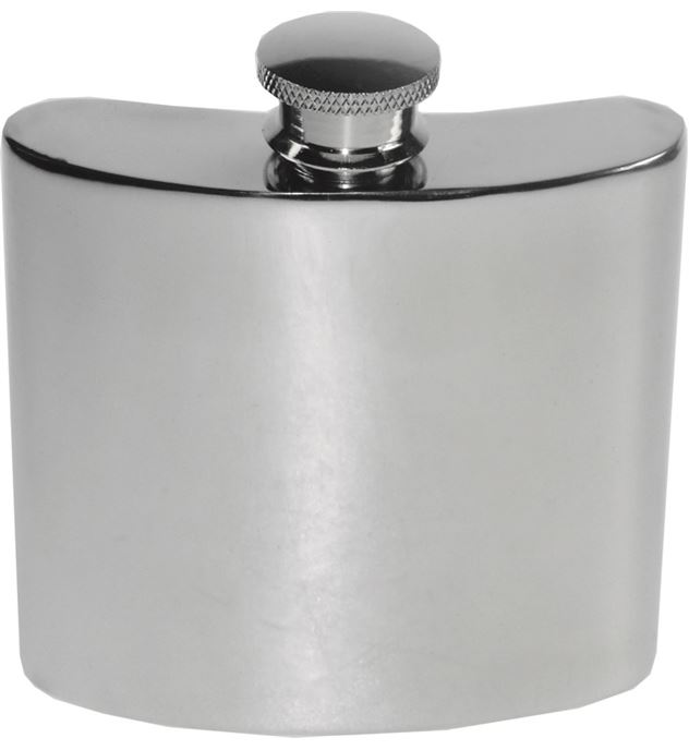 "4oz Plain Polished Sheffield Pewter Hip Flask 8.5cm (3.25"")"