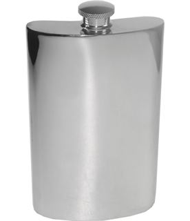 "10oz Plain Polished Sheffield Pewter Hip Flask 16cm (6.25"")"