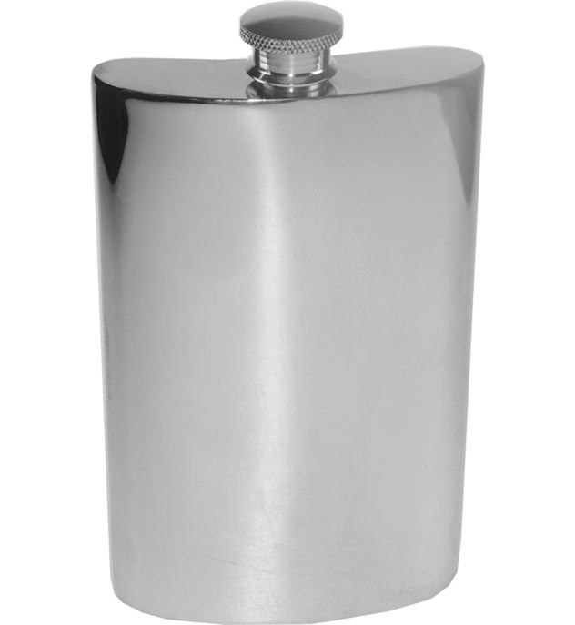 "8oz Plain Polished Sheffield Pewter Hip Flask 14cm (5.5"")"