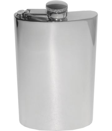 "8oz Plain Polished Sheffield Pewter Hip Flask with Captive Top 14cm (5.5"")"