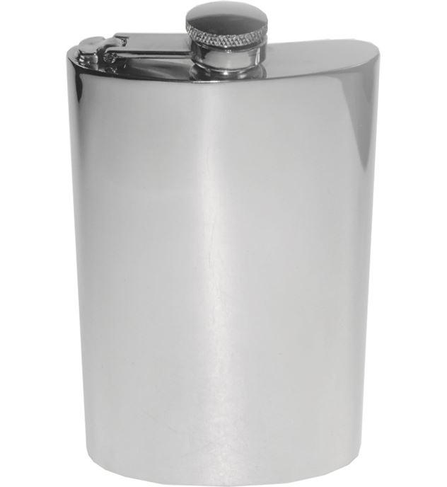 "8oz Plain Polished Sheffield Pewter Hip Flask with Captive Top 14cm (5.5"")"