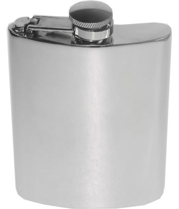 "6oz Plain Polished Sheffield Pewter Hip Flask with Captive Top 11cm (4.25"")"