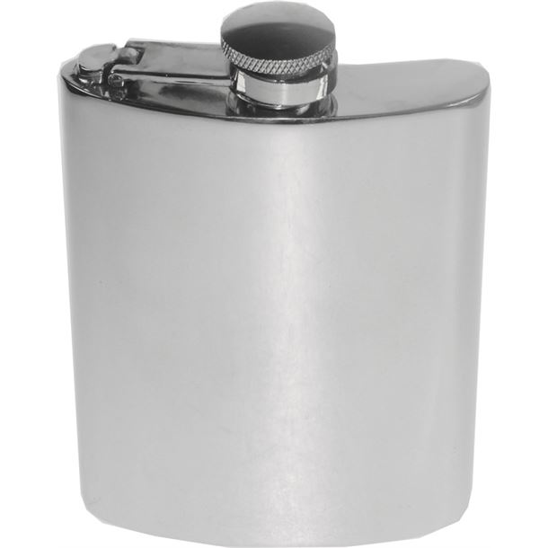 "6oz Plain Polished Sheffield Pewter Hip Flask with Captive Top 11cm (4.25"")"