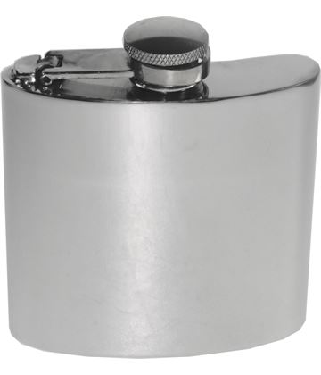 "4oz Plain Polished Sheffield Pewter Hip Flask with Captive Top 8.5cm (3.25"")"