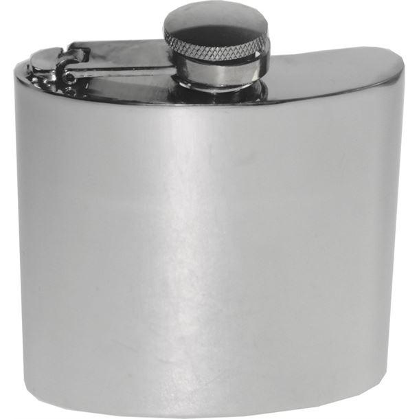 "4oz Plain Polished Sheffield Pewter Hip Flask with Captive Top 8.5cm (3.25"")"