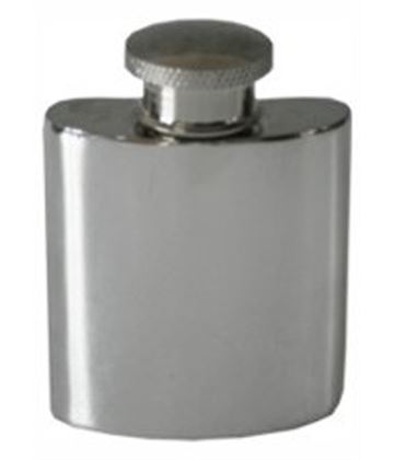 "1oz Plain Polished Sheffield Pewter Purse Flask 5cm (2"")"