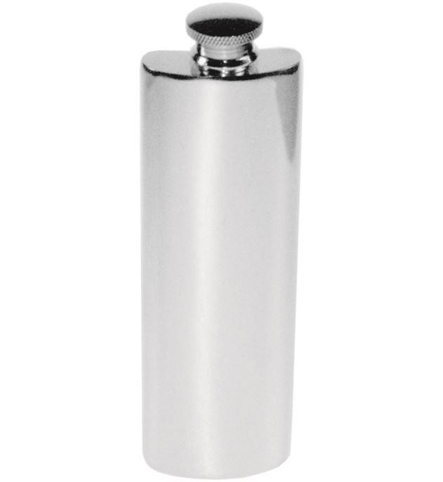 "3oz Plain Polished Sheffield Pewter Purse Flask 14.5cm (5.75"")"