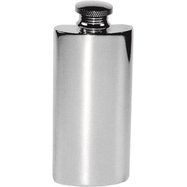 "2oz Plain Polished Sheffield Pewter Purse Flask 9.5cm (3.75"")"