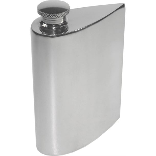 "4oz Plain Teardrop Shaped Sheffield Pewter Purse Flask 14.5cm (5.75"")"