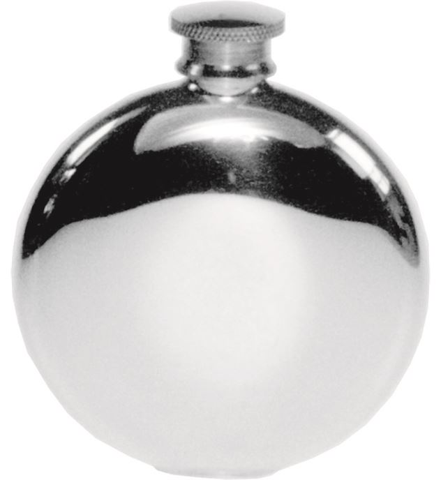 "Round 4oz Plain Polished Sheffield Pewter Hip Flask 9.5cm (3.75"")"
