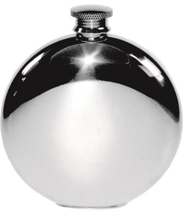 "Round 6oz Plain Polished Sheffield Pewter Hip Flask 11.5cm (4.5"")"