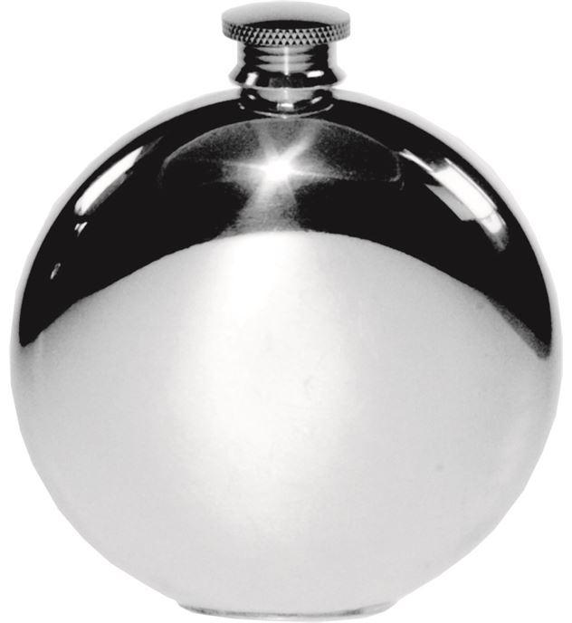 "Round 6oz Plain Polished Sheffield Pewter Hip Flask 11.5cm (4.5"")"