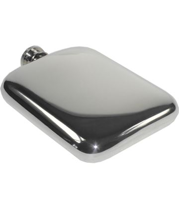 "6oz Plain Polished Sheffield Pewter Pocket Flask 11cm (4.25"")"