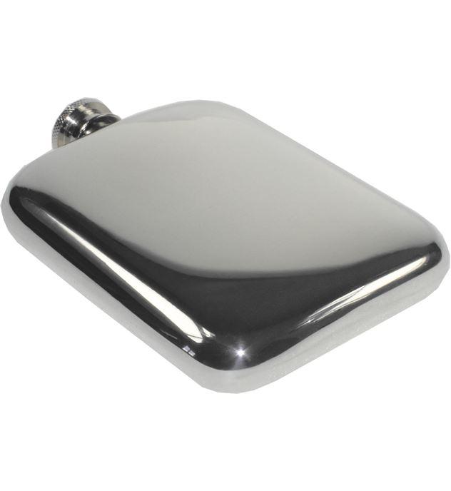 "6oz Plain Polished Sheffield Pewter Pocket Flask 11cm (4.25"")"