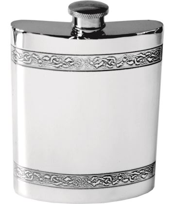 "6oz Horizontal Celtic Band Sheffield Pewter Hip Flask 11cm (4.25"")"