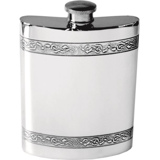 "6oz Horizontal Celtic Band Sheffield Pewter Hip Flask 11cm (4.25"")"