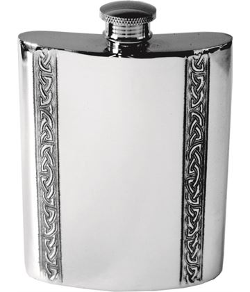 "6oz Vertical Celtic Band Sheffield Pewter Hip Flask 11cm (4.25"")"
