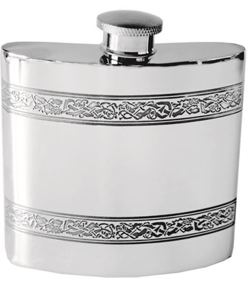 "4oz Horizontal Celtic Band Sheffield Pewter Hip Flask 8.5cm (3.25"")"