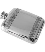 "4oz Horizontal Celtic Band Sheffield Pewter Pocket Flask 9.5cm (3.75"")"