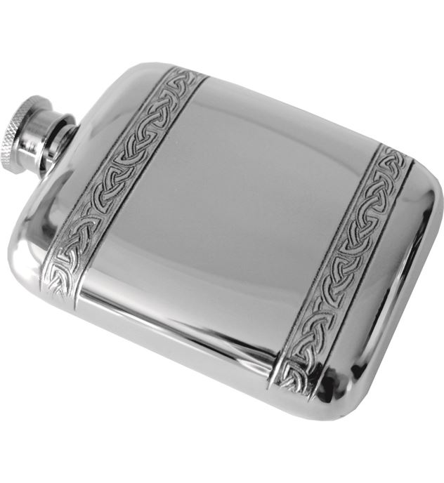 "4oz Horizontal Celtic Band Sheffield Pewter Pocket Flask 9.5cm (3.75"")"