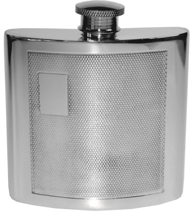 "4oz Barley Patterned Sheffield Pewter Hip Flask 8.5cm (3.25"")"
