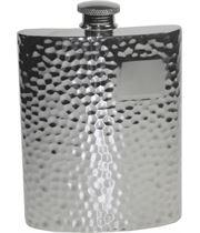 """6oz Hammered Sheffield Pewter Hip Flask 11cm (4.25"""")"""