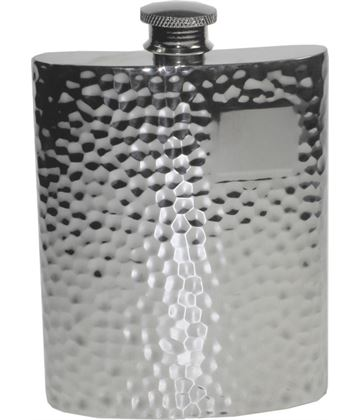 "6oz Hammered Sheffield Pewter Hip Flask 11cm (4.25"")"