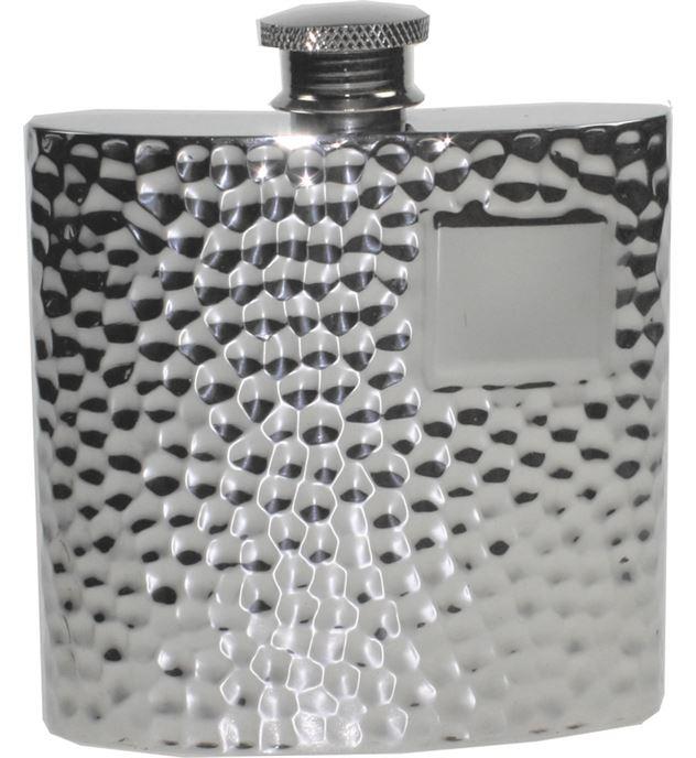 """4oz Hammered Sheffield Pewter Hip Flask 8.5cm (3.25"""")"""