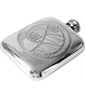 "4oz Knox Embossed Sheffield Pewter Hip Flask 9.5cm (3.75"")"