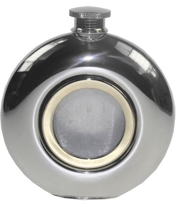 "Round 6oz Brass Porthole Sheffield Pewter Hip Flask 11.5cm (4.5"")"