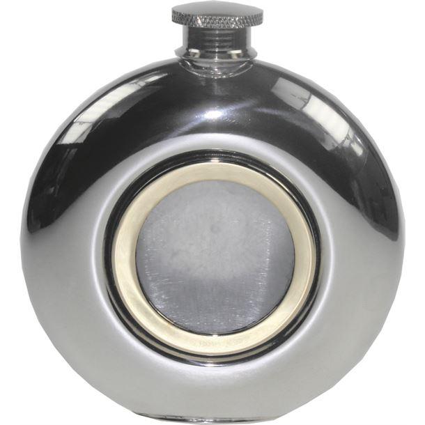"Round 6oz Brass Porthole Sheffield Pewter Hip Flask 11.5cm (4.5"")"