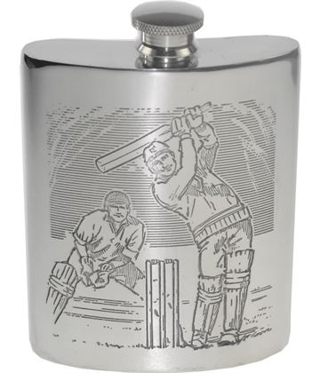 "6oz Cricket Scene Embossed Sheffield Pewter Hip Flask 11cm (4.25"")"