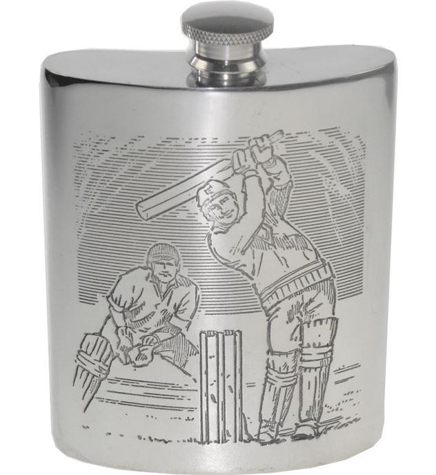 "6oz Cricket Scene Embossed Sheffield Pewter Hip Flask 11cm (4.25"")"