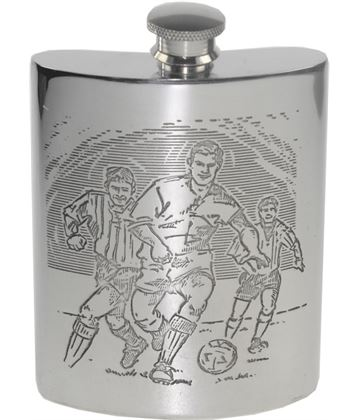 "6oz Football Scene Embossed Sheffield Pewter Hip Flask 11cm (4.25"")"
