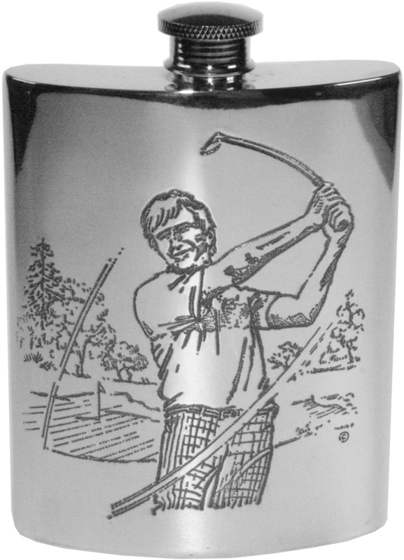 "6oz Golf Scene Embossed Sheffield Pewter Hip Flask 11cm (4.25"")"