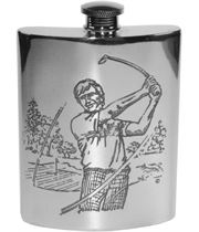 "6oz Golf Scene Embossed Sheffield Pewter Hip Flask 11cm (4.25"")"