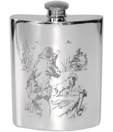 "6oz Shooting Scene Embossed Sheffield Pewter Hip Flask 11cm (4.25"")"