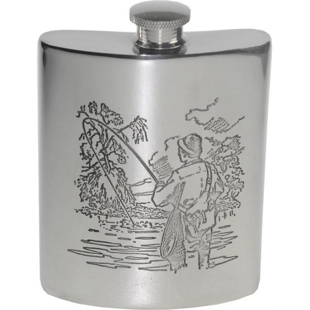 "6oz Fishing Scene Embossed Sheffield Pewter Hip Flask 11cm (4.25"")"