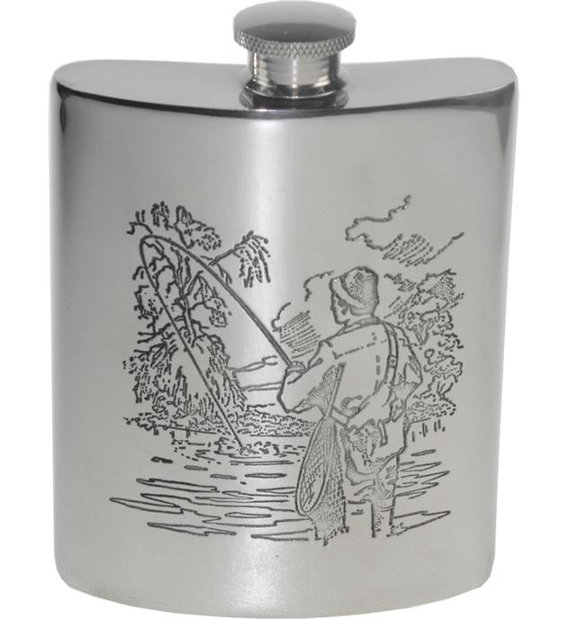 "6oz Fishing Scene Embossed Sheffield Pewter Hip Flask 11cm (4.25"")"
