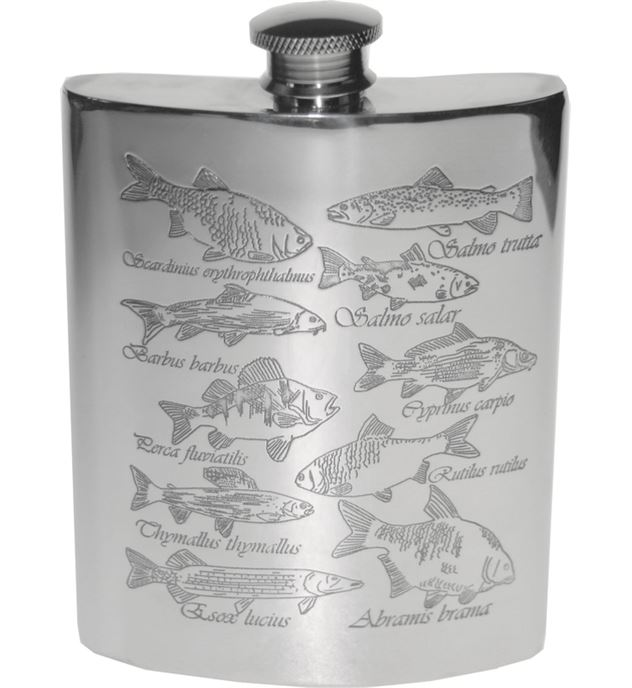 "6oz Fish Embossed Sheffield Pewter Hip Flask 11cm (4.25"")"