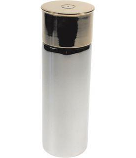 "4oz Shooting Cartridge Brass & Sheffield Pewter Hip Flask 11cm (4.25"")"