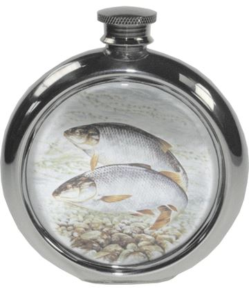 "6oz Round Roach Fishing Sheffield Pewter Hip Flask 11.5cm (4.5"")"